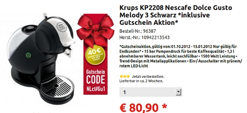 knallerpreis dolce gusto melody 3 f r 40 90 euro der. Black Bedroom Furniture Sets. Home Design Ideas