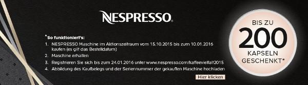Nespresso Aktion im Herbst/Winter 2015