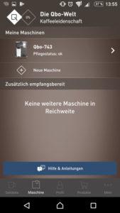 Qbo App: Maschine und smartphone sind verbunden